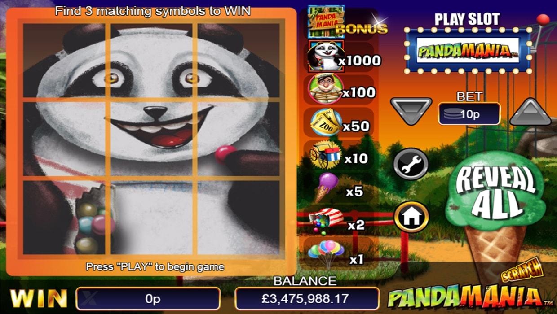 Pandamania scratchcard