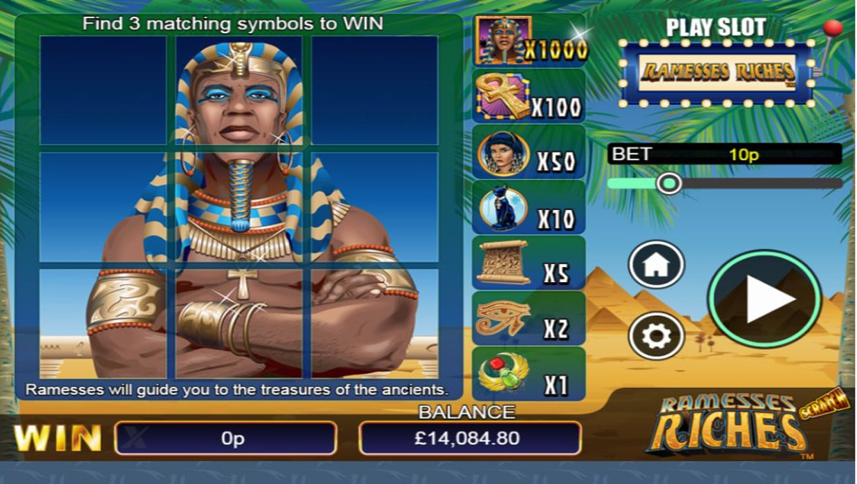 Ramesses Riches scratchcard